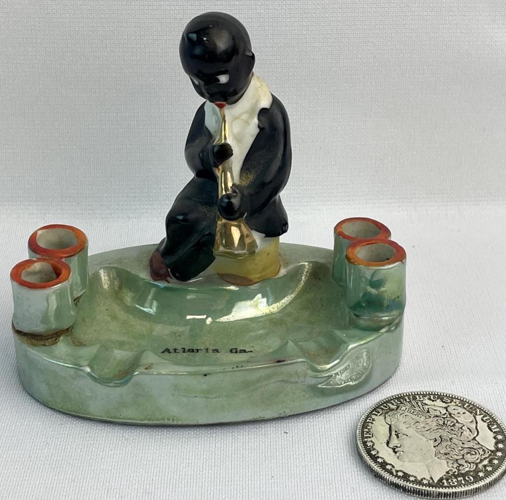 Vintage 1940's Black Americana Young Boy w/ Saxophone Atlanta, GA. Porcelain Souvenir Ashtray