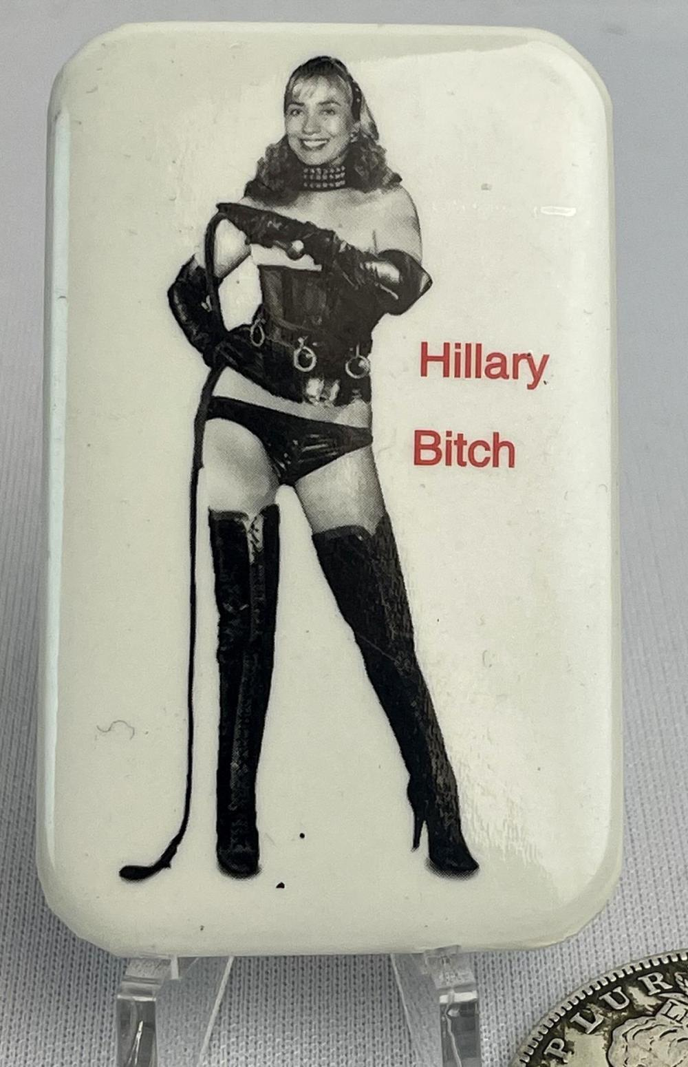 "Hillary Clinton BDSM ""Hillary B...."" Spoof Pinback Button"