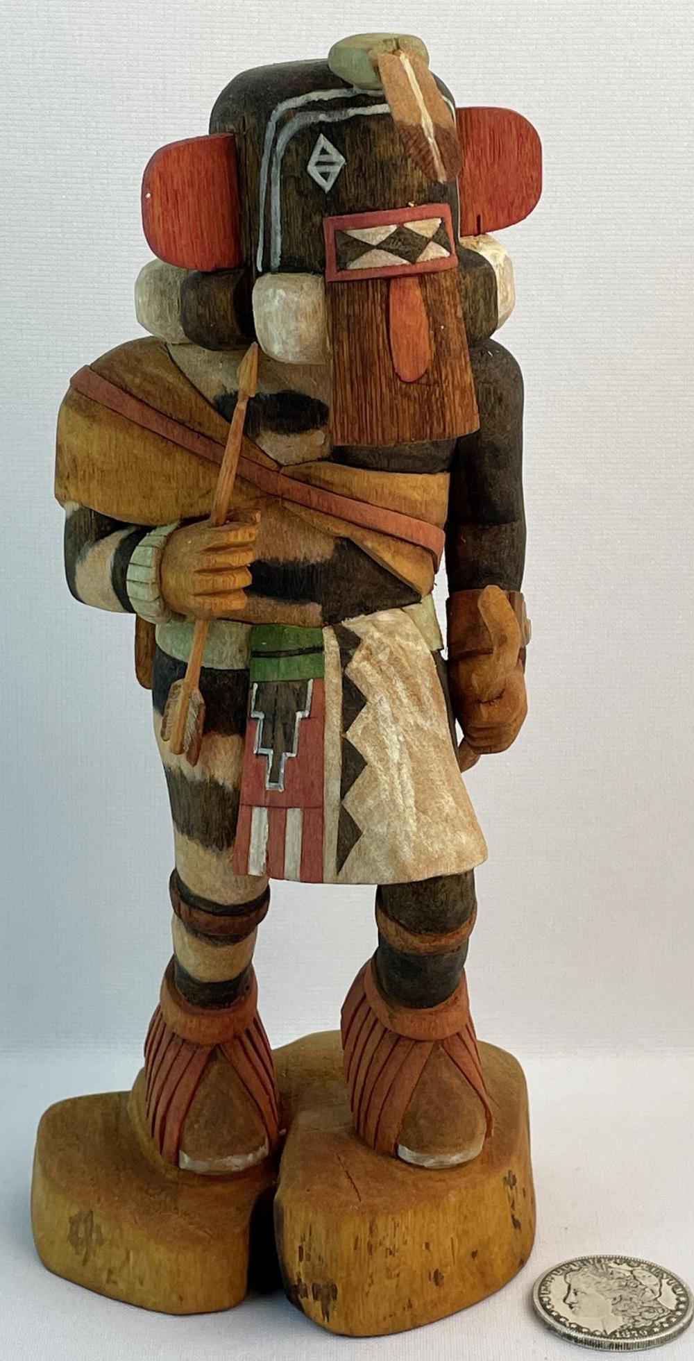 Vintage Signed Art Aragon Native American Hopi Left Hand Kachina Carved Wood Statue
