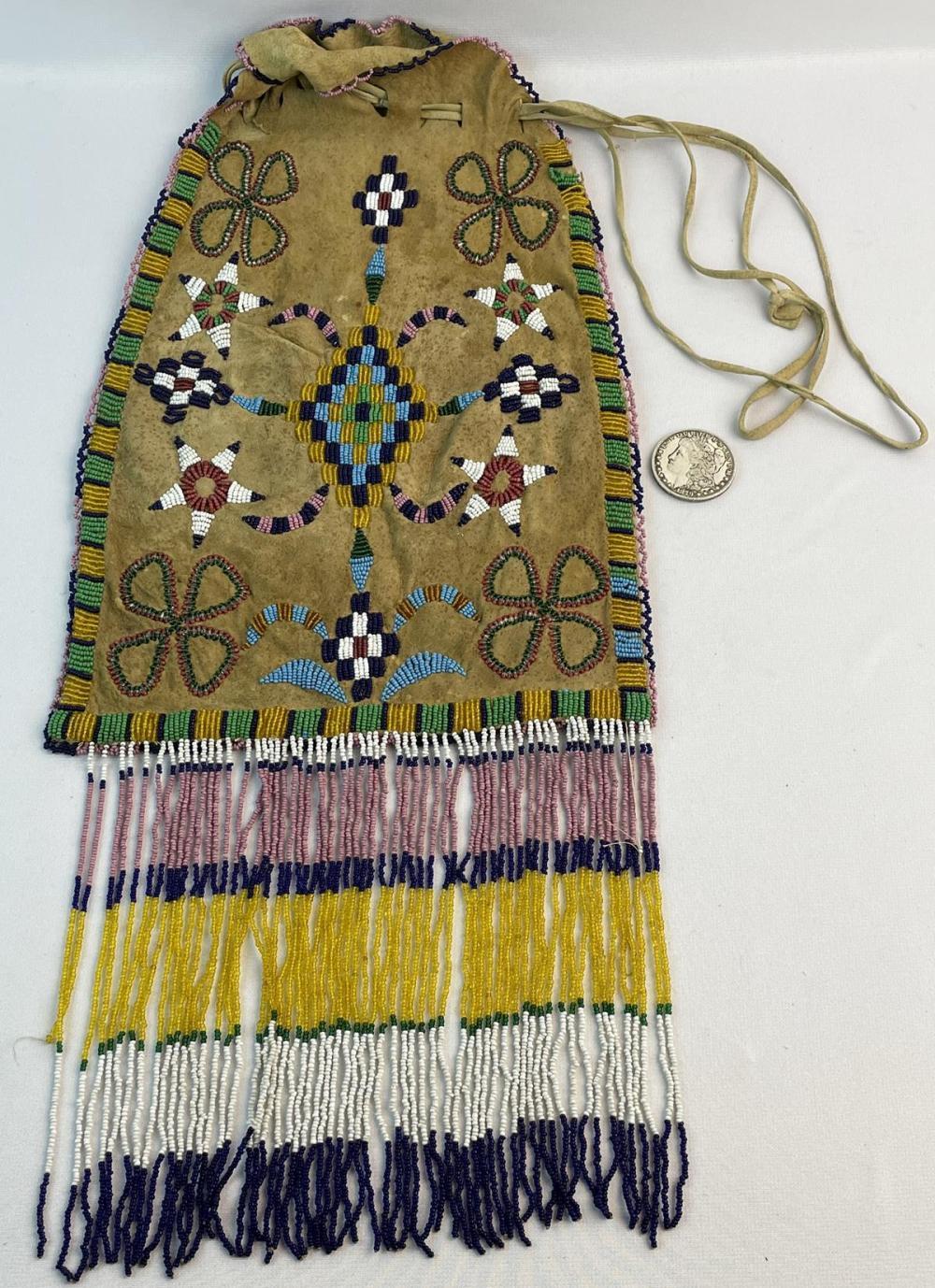 "Antique c. 1910 Native American Apache Beaded Bag Large Oversize 24"" x 10"""