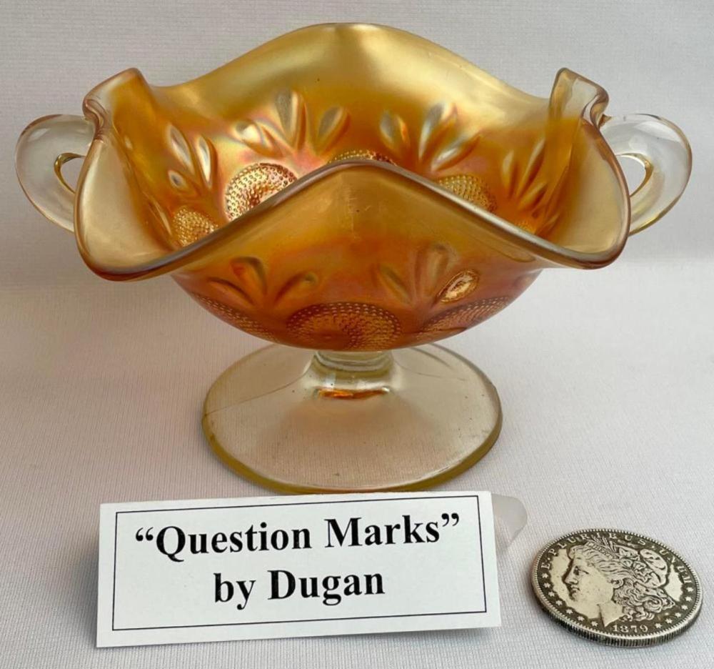 "Antique Dugan Carnival Glass ""Question Marks"" Marigold Ruffled Double Handled Bonbon Bowl 9"" Diameter"