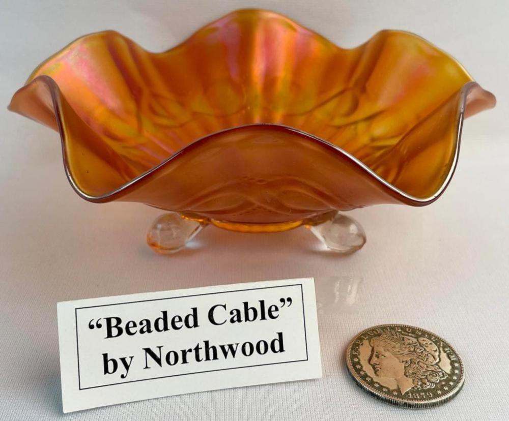 """Antique Northwood Carnival Glass """"Beaded Cable"""" Peach Marigold Ruffled Footed Bowl 8"""" Diameter"""
