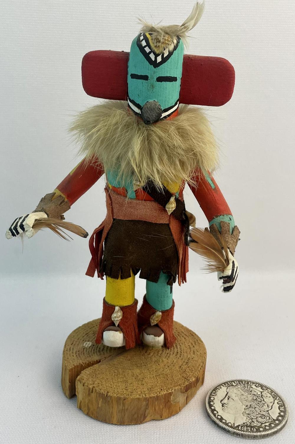 Vintage 1989 Signed G. Yazzie Native American Hopi Kachina Humming Bird Carved Wood Figurine