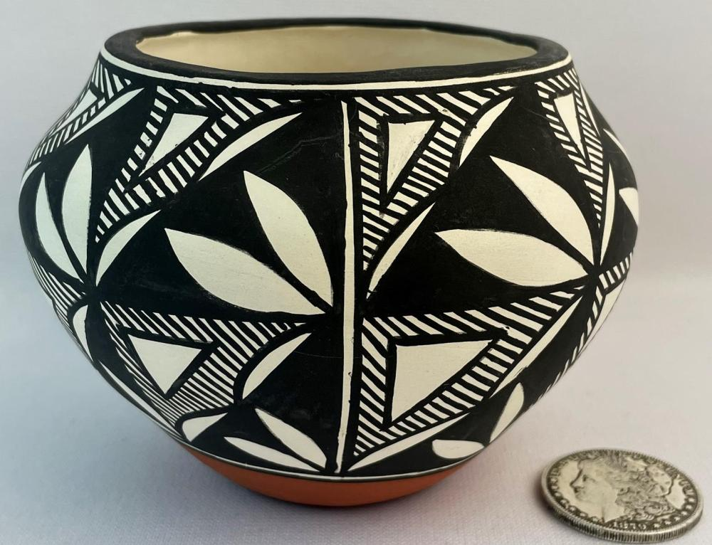 1997 Signed Rachel Poncha Native American Hand Painted Acoma Pueblo Pottery Bowl w/ COA