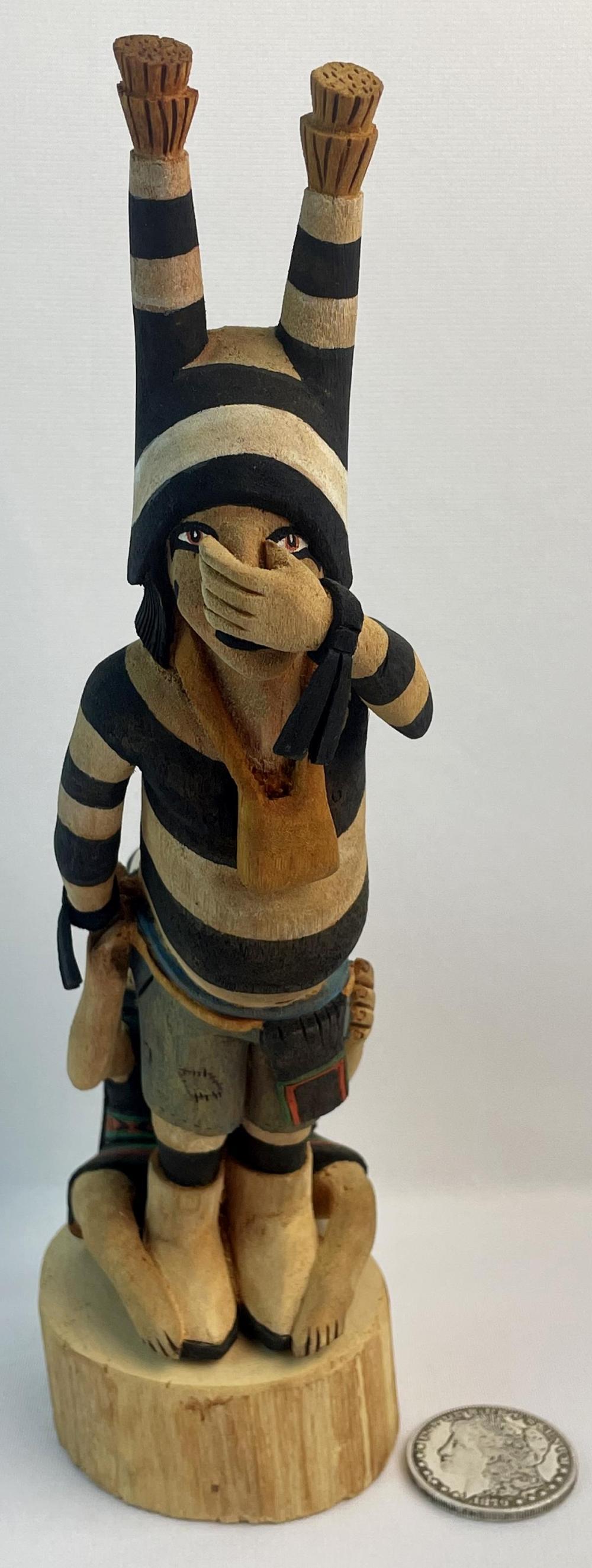 Vintage Native American Hopi Double Kachina Baldwin Huma Polacca, AZ Carved Wood Statue
