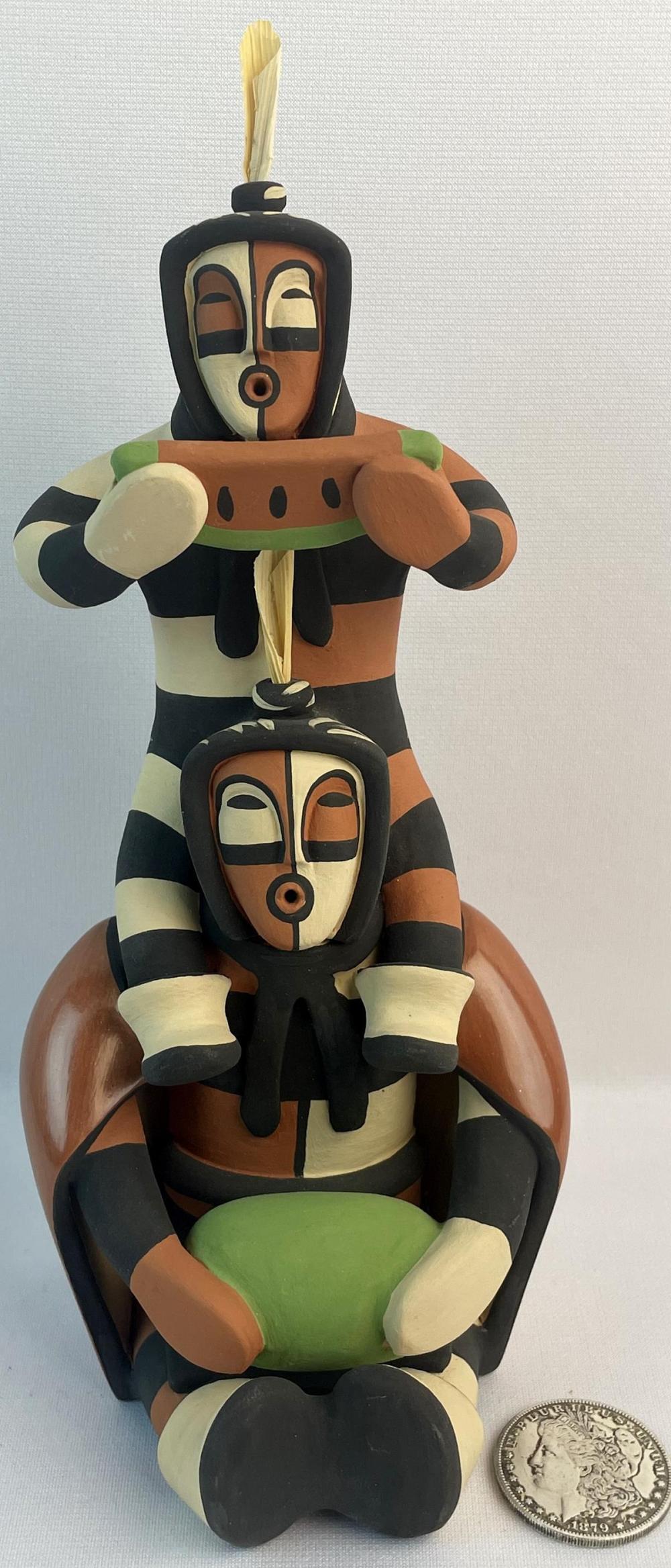 Vintage Signed R. Panana Native American Piggy Back Kachina Jemez Pottery Statue