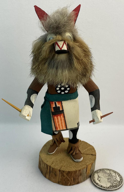 Vintage Signed Native American Hopi Kachina Wolf Carved Wood Figurine