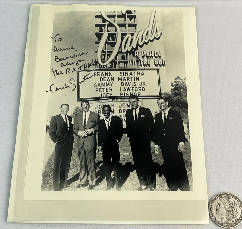 SIGNED Frank Sinatra Rat Pack Infront of The Sands Sign in Las Vegas Photo Print