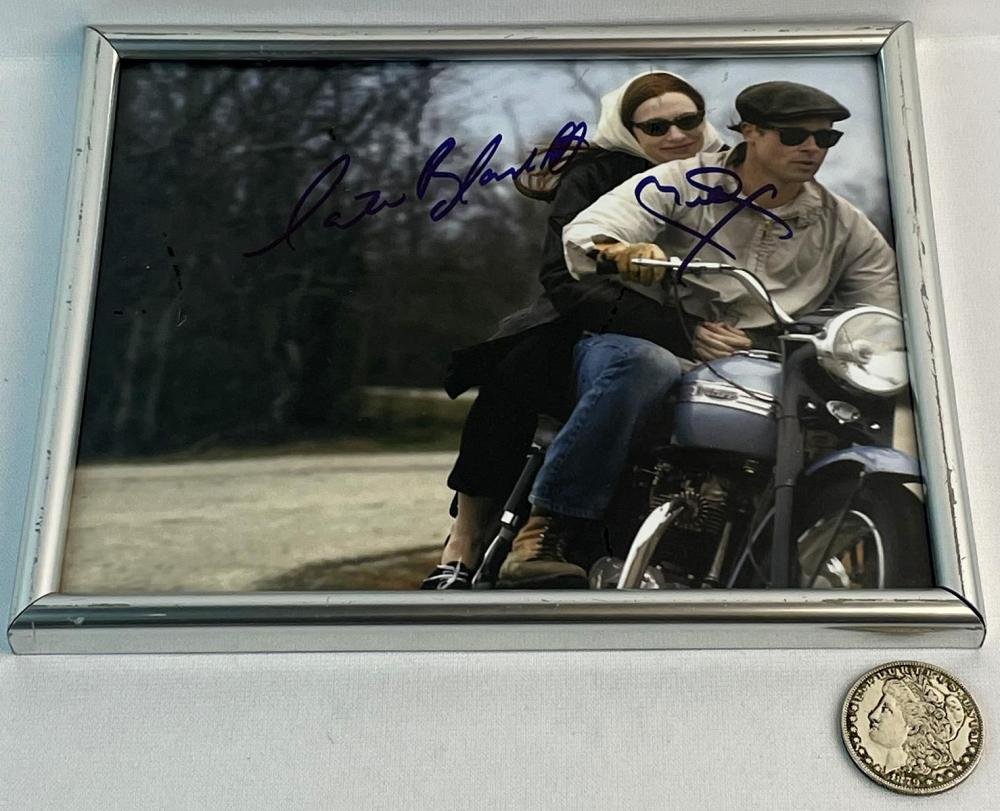 SIGNED Brad Pitt and Care Blanchett The Curious Case of Benjamin Button Triumph Motorcycle Scene Photo FRAMED