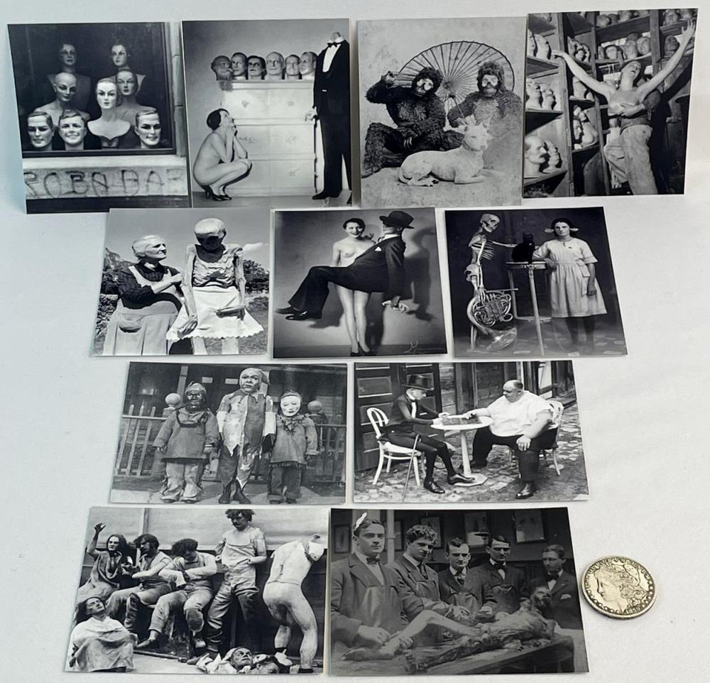 Lot of 11 Misc. Weird, Odd, Strange, Freak, Etc.. Photograph Prints (Autopsy, Skeleton, Costume, Nude, Etc..)