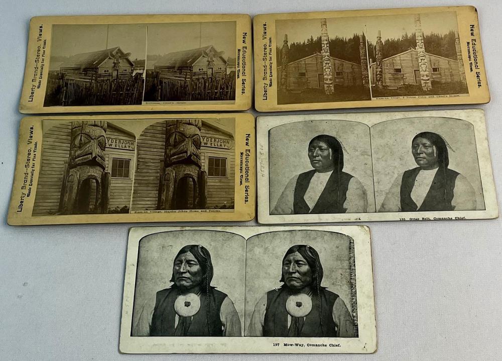 Antique c. 1900 Lot of 5 Misc. Native American Stereoviews (Kasa-an Village Alaska, Comanche Chiefs, Etc..)