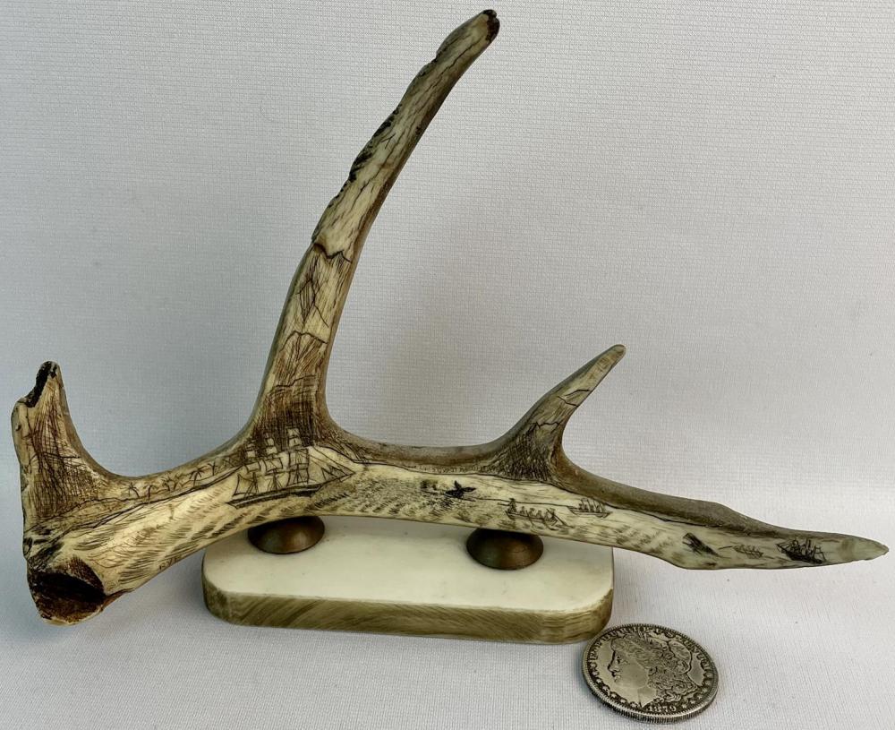 Whaling Scrimshaw Scene Deer Antler on Stand by Roger Van Boxtel