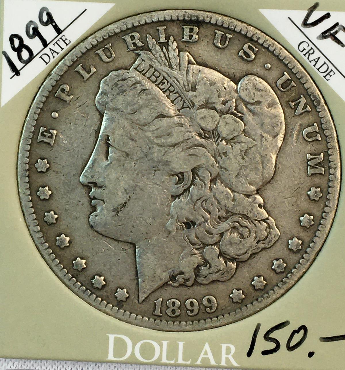 Lot - 1899 US $1 Morgan Silver Dollar w/ Case