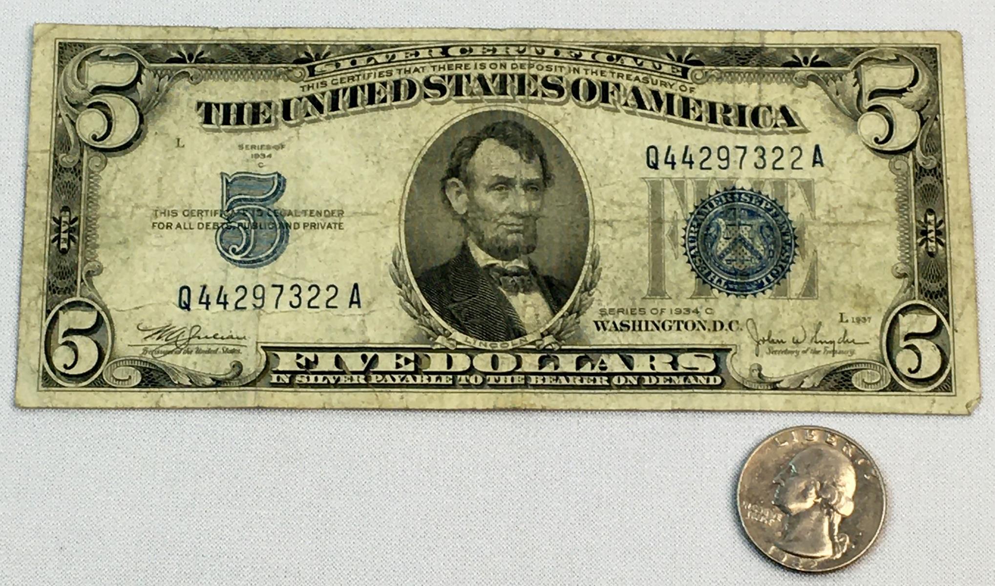 1934 dollar silver seal certificate lincoln five lot