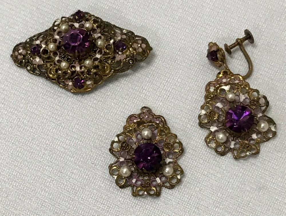Vintage Gold Tone Purple Austrian Crysyal Brooch & Earrings w/ Enamel & Faux Pearls