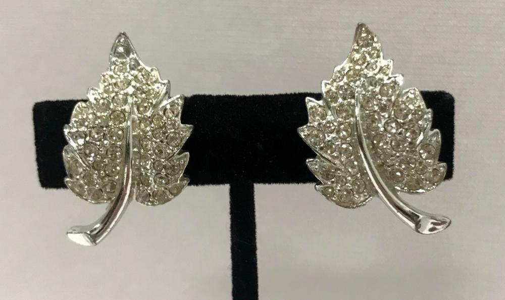 Vintage Signed Charel Silver Tone Rhinestone Leaf Clip On Earrings
