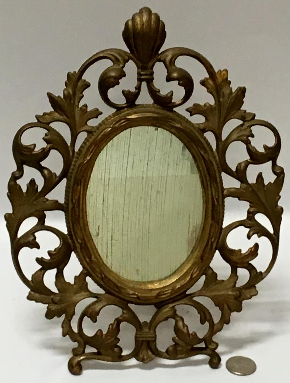 Antique Early 1900's Ornate Brass Desk / Vanity Mirror