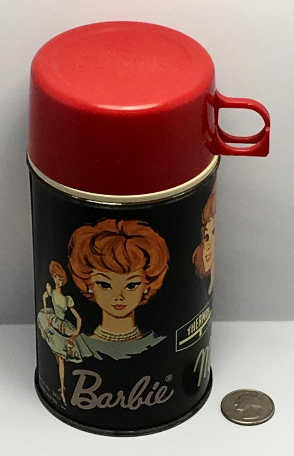 Vintage 1965 Barbie Midge & Skipper Metal Thermos w/ Lid