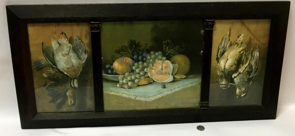 Antique C. 1900 Framed Triptych Still Life Hunting Trophy and Fruit Print FRAMED