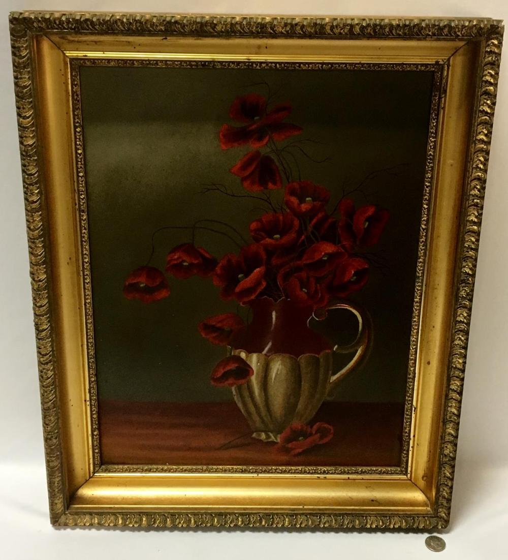 Antique 1901 Red Poppies in Vase Still Life Oil on Board Painting FRAMED