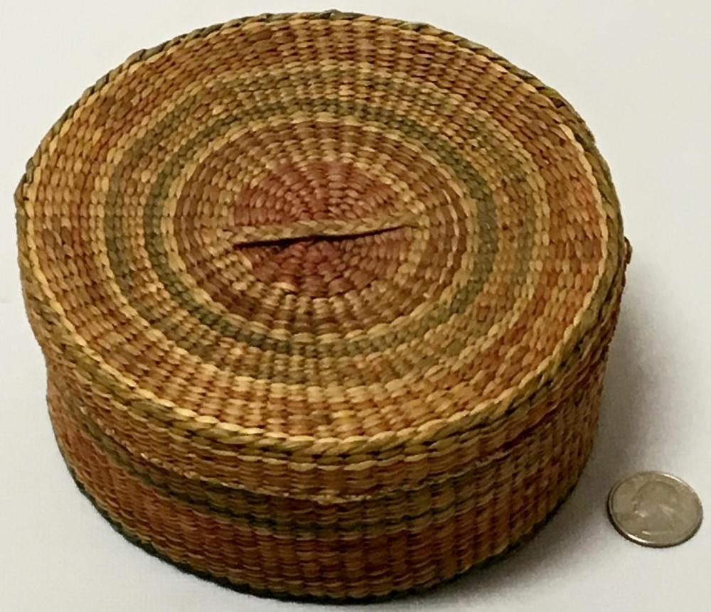 Antique Native American Hand Woven Sweetgrass Basket