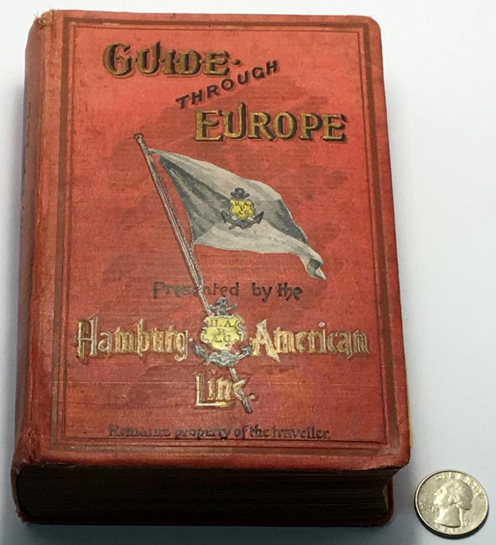 Antique 1902 Guide through Europe - Presented by the Hamburg-American Line w/ Some Maps Included
