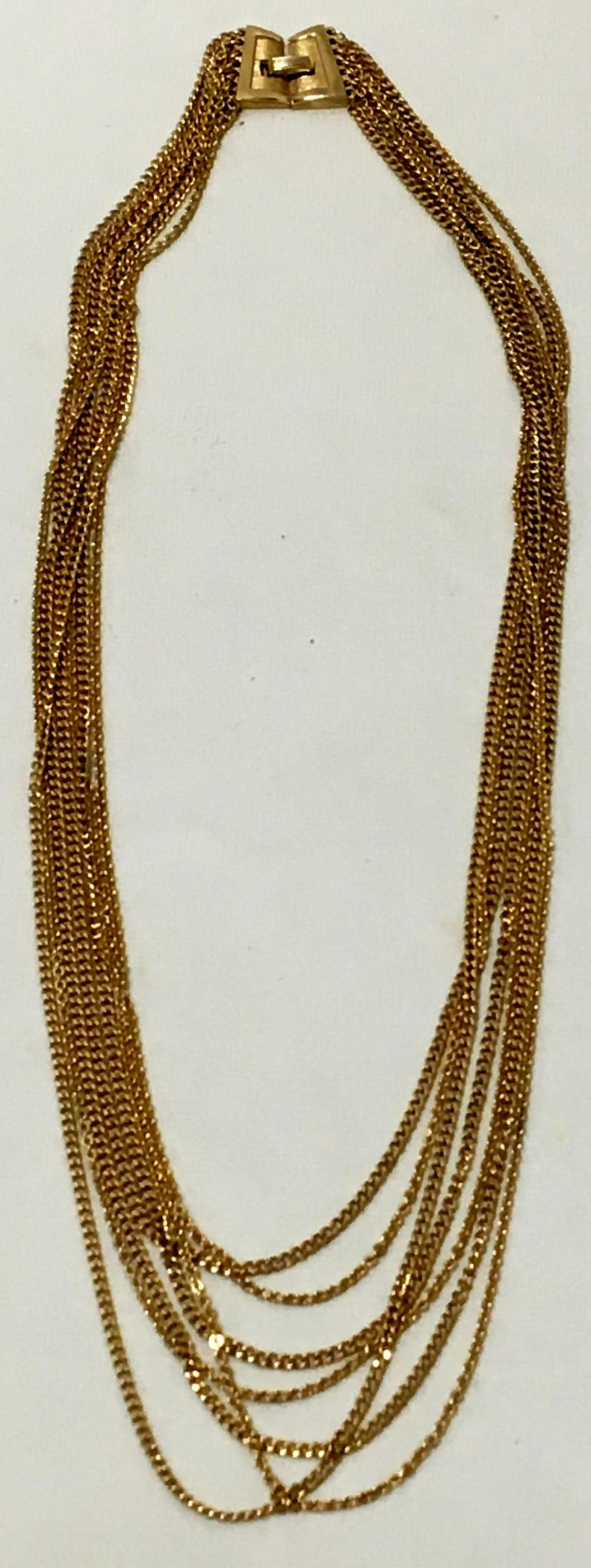 Vintage c. 1960's Signed Trifari Multi Strand Gold Tone Chain Necklace