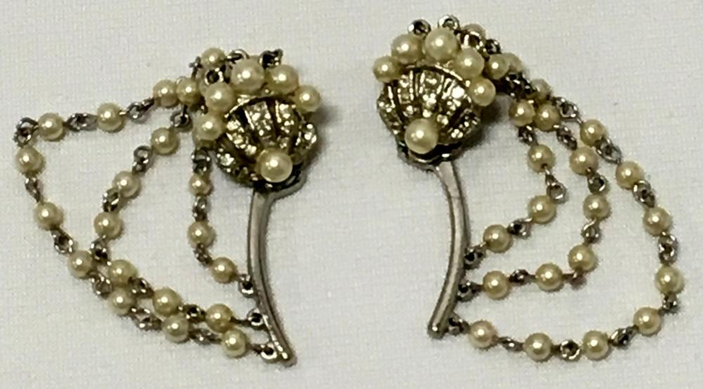 Vintage Faux Pearl & Rhinestone Climber Clip On Earrings