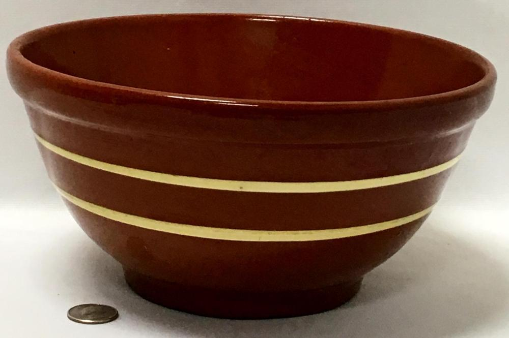 Rare Antique 1800's American Redware Double Banded Slip Decorated Bowl