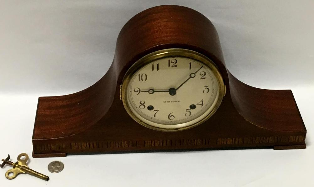 Vintage Seth Thomas Lynton 1w Mahogany Mantle Shelf Clock w/ Key