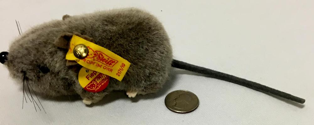 Vintage Steiff Fiep Gray Mouse w/ Button & Tag 2171/10
