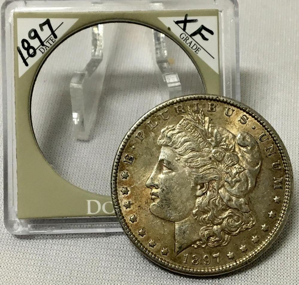 1897 US $1 Morgan Silver Dollar w/ Case