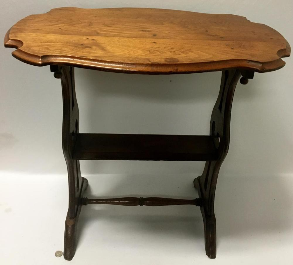 Antique 19th Century Walnut Turtle Top Parlor Table / Stand