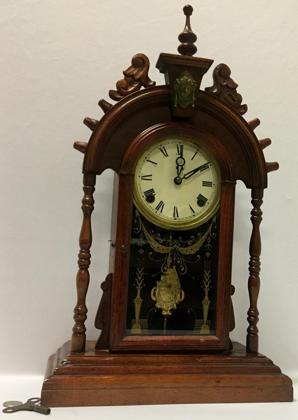 Antique 19th Century Walnut Reverse Painted Parlor Mantle Clock w/ Columns, Wings and Finial