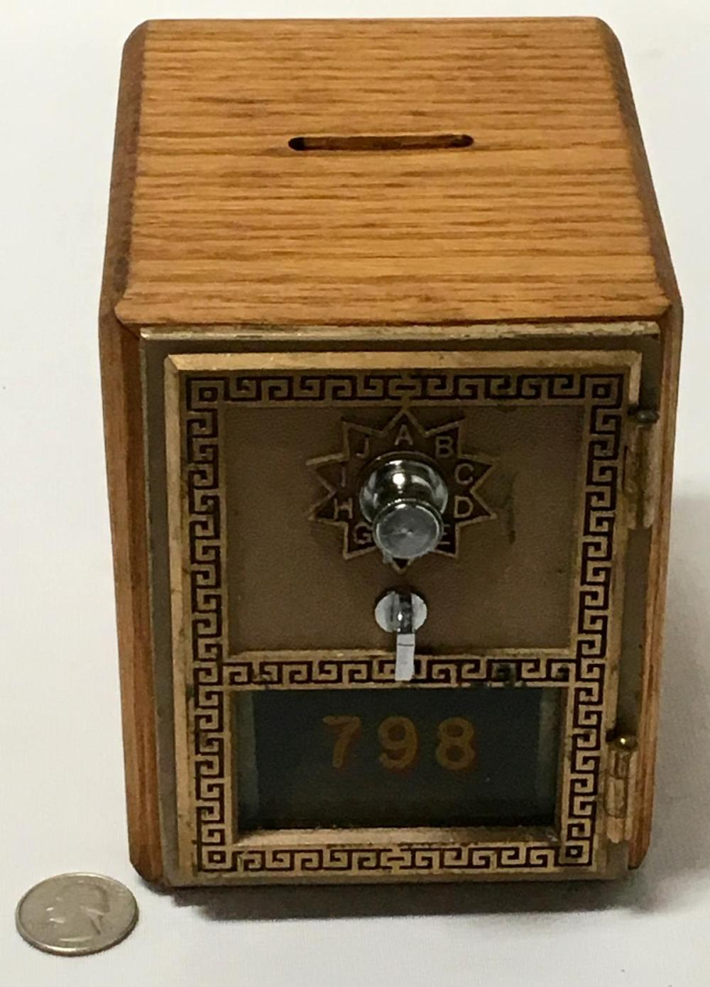 Vintage 1962 National Post Office Door #798 Oak Coin Bank