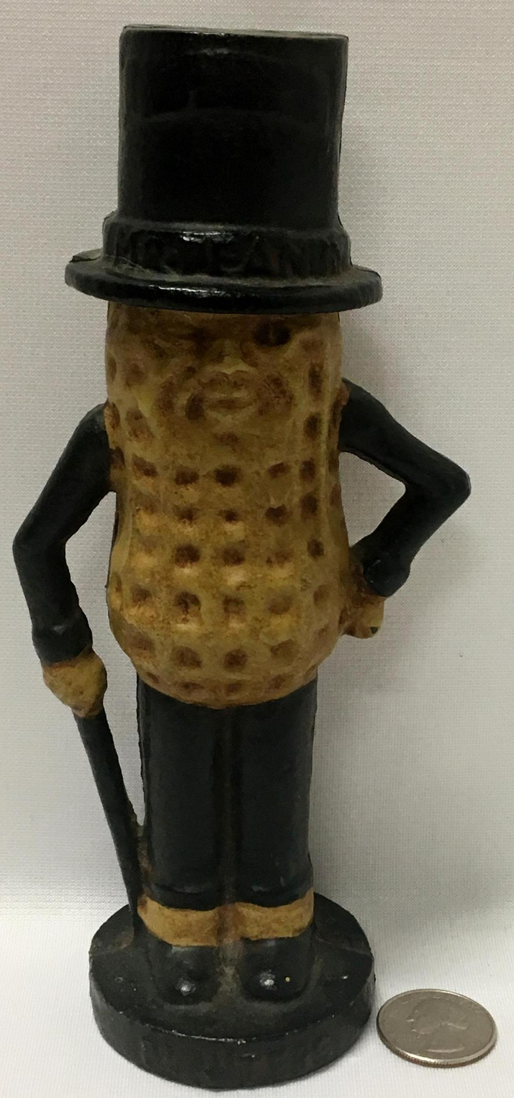 "Vintage Planters Mr. Peanut Cast Iron Still Bank 7.5"" tall"