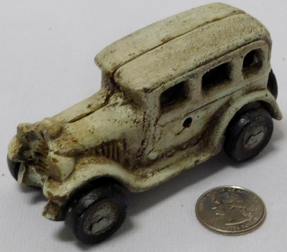 "Vintage White Cast Iron Car 4"" Long"