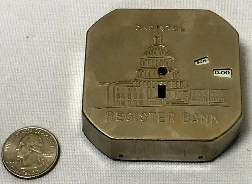Vintage c. 1920 Capitol Dime Register Metal Bank