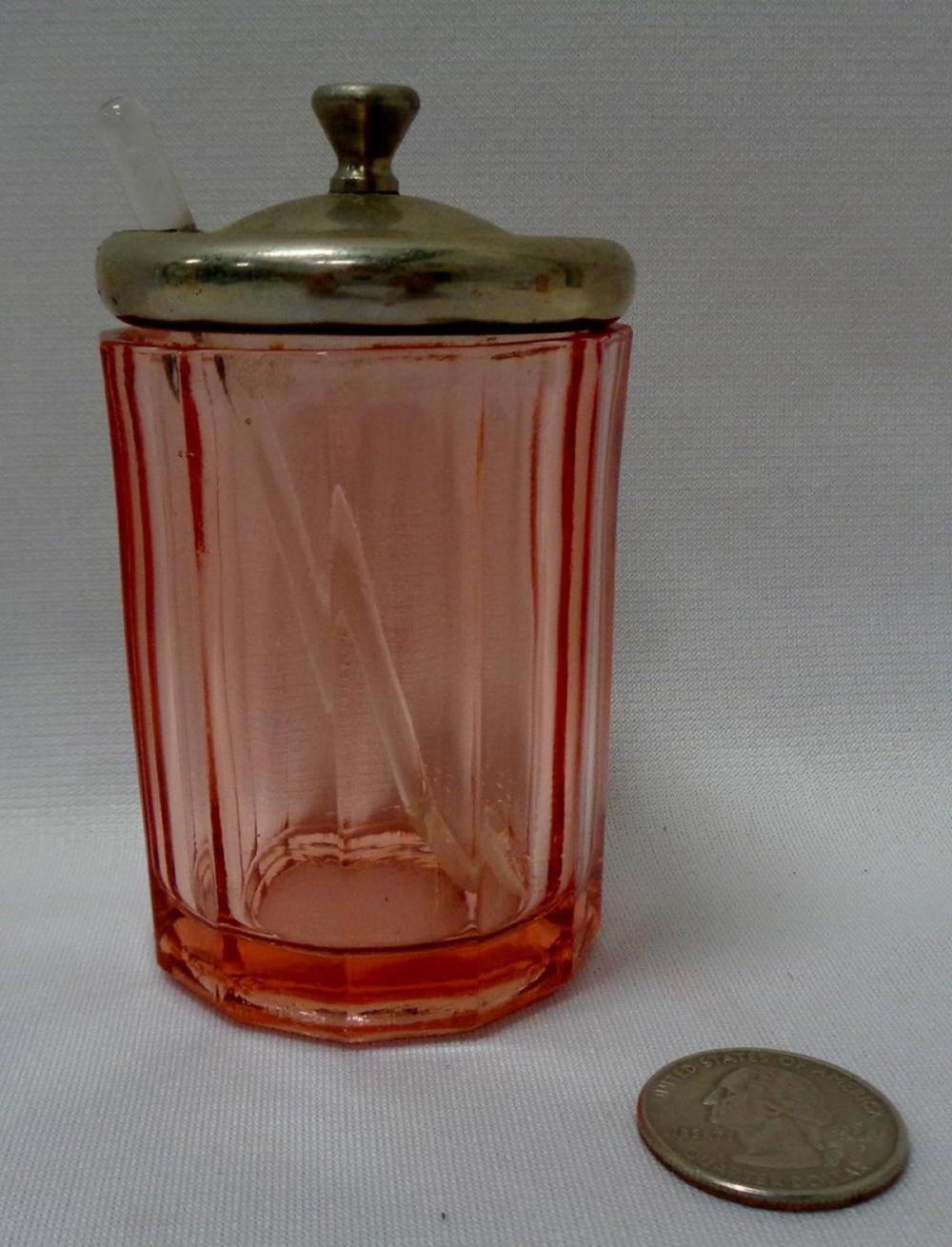 Vintage Pink Depression Glass Paneled Mustard Jar w/ Glass Spoon