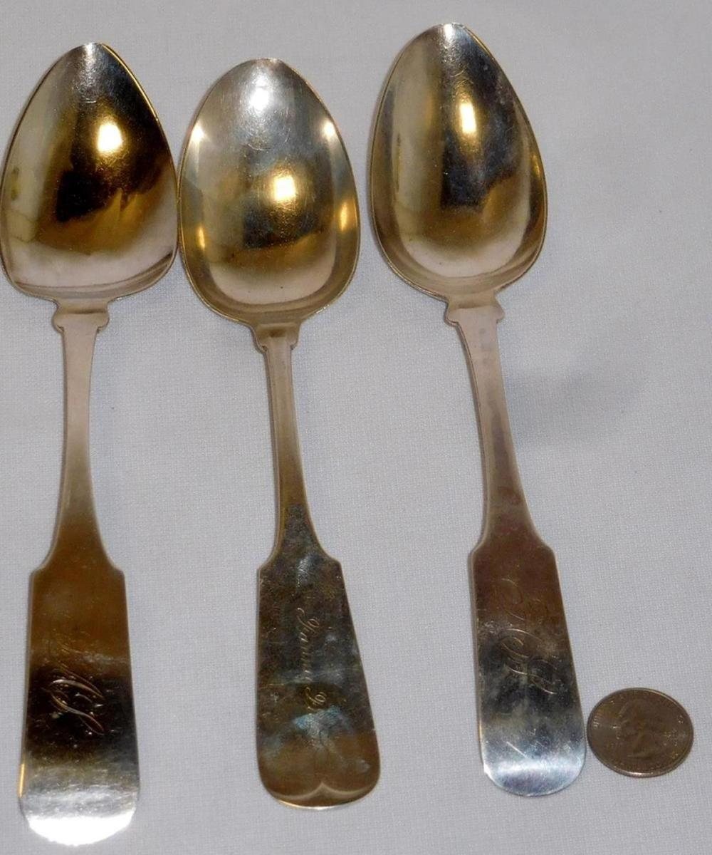 Antique 1800'S Lot of 3 Misc. .900 Coin Silver Serving Spoons (J.C. Blackman & Co., Etc...) 143.3g