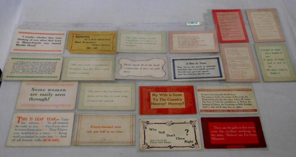 Antique Early 1900's Lot of 20 Misc. Sayings Postcards (Comical, Political, Etc..)
