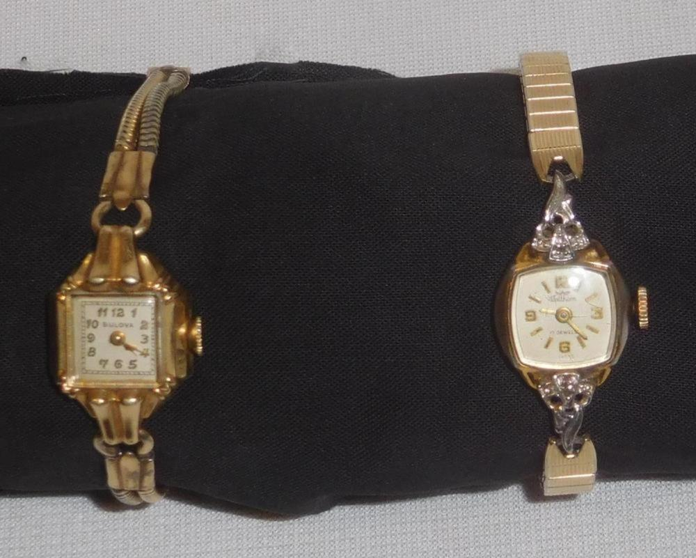 Vintage Lot of 2 Ladies Wrist Watches (Bulova, Waltham) WORKING