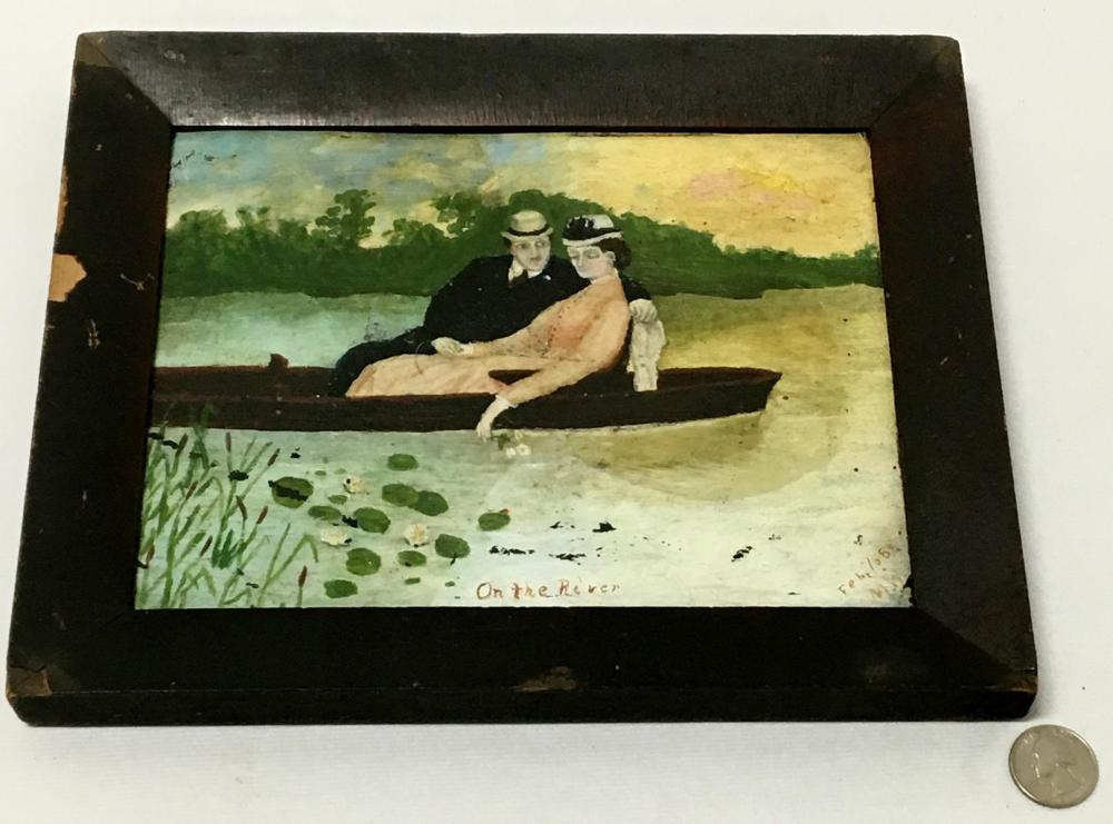 "Antique 1889 ""On The River"" Couple in a Boat Folk Art Painting on Tin Signed M.W. FRAMED"