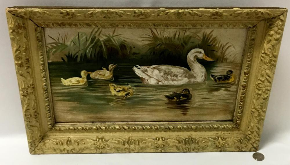 Antique Late 1800's Goose and Ducks Oil on Canvas Painting FRAMED