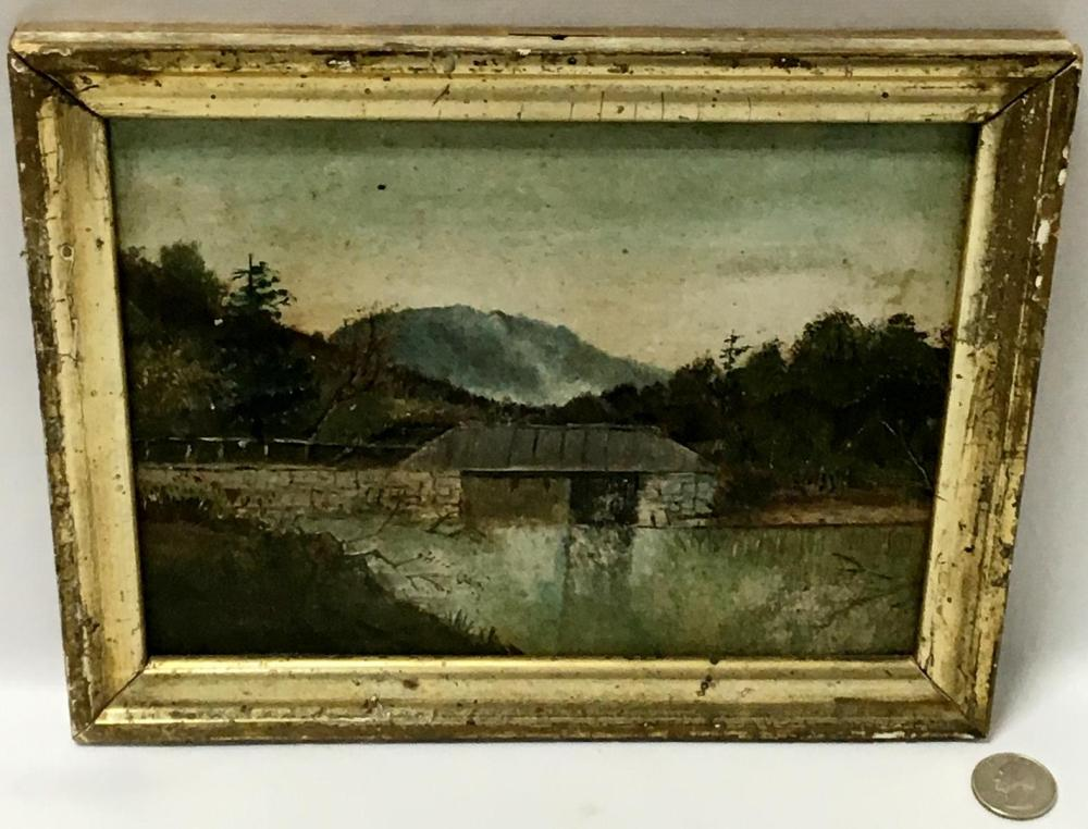 Antique Late 1800's Bridge Over Water Landscape Oil on Board Painting FRAMED