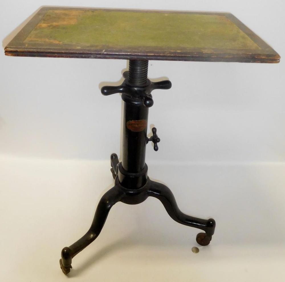 Antique c. 1920 Satellite Adjustable Table Co. Telescoping Typewriter Table INDUSTRIAL STEAMPUNK