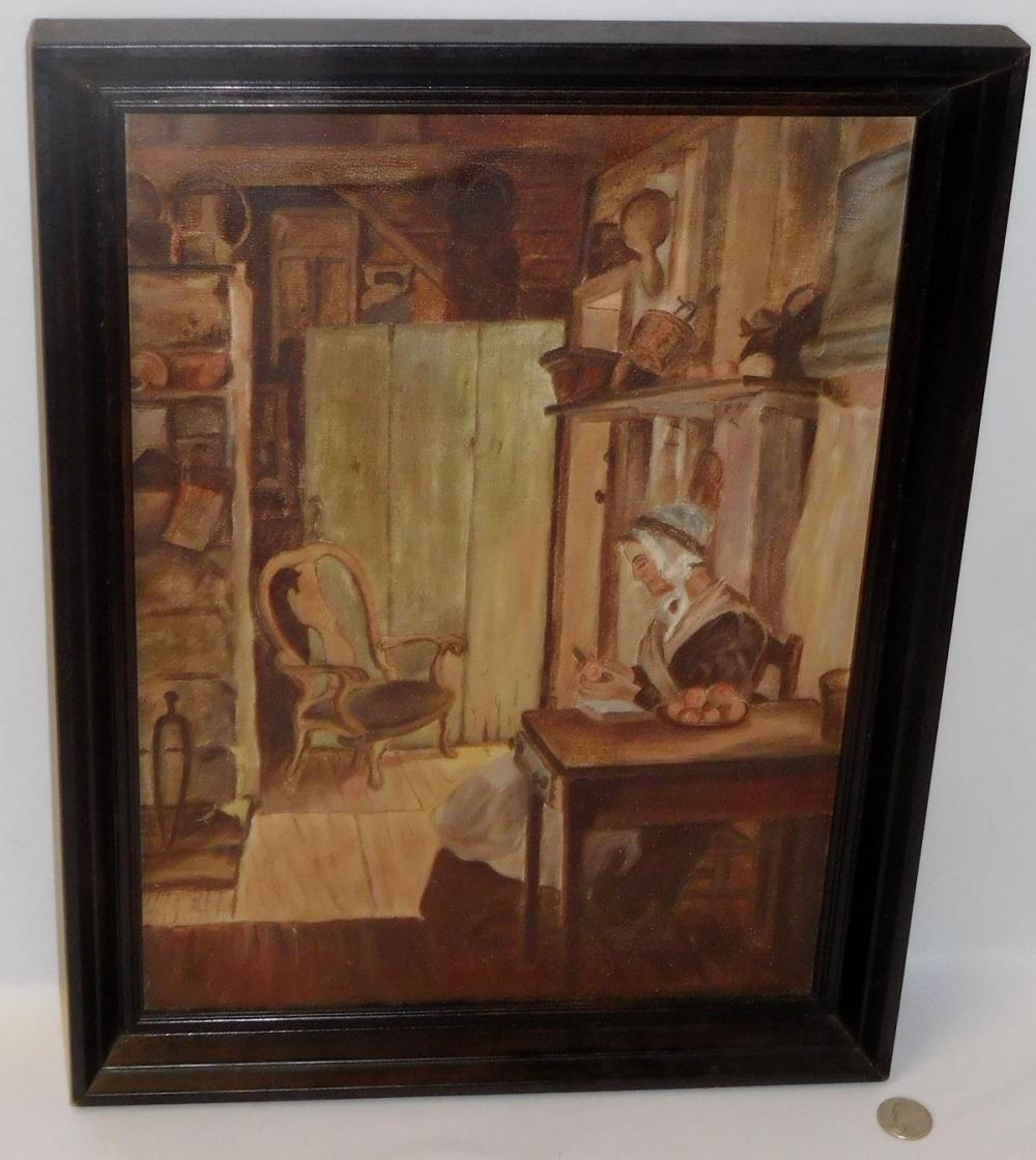 Antique Late 19th Century Woman Peeling Fruit in Kitchen Scene Folk Art Oil on Canvas Painting FRAMED