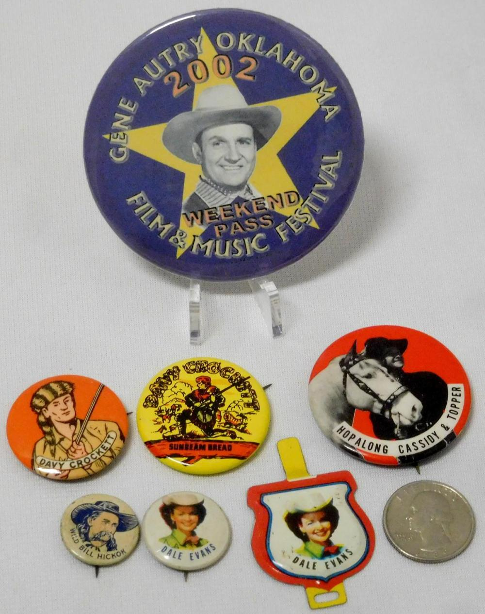 Vintage Lot of 7 Misc. Western Pinback Buttons, Etc.. (Hopalong Cassidy, Dale Evans, Davy Crockett, Etc..)
