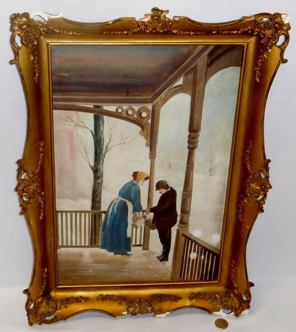 Antique 1907 Winter Scene Milk Delivery Folk Art Oil on Board Painting by Herm Kretz FRAMED