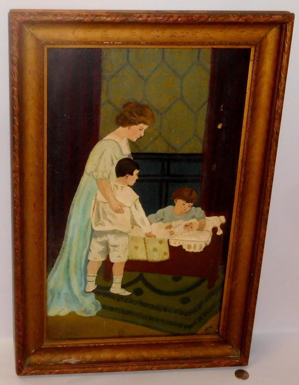 Antique Late 19th Century Mother and Children Scene Folk Art Oil on Canvas Painting Signed H K FRAMED